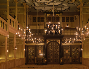 The beautiful candlelit interior of the Sam Wanamaker Playhouse. Pic Pete le May