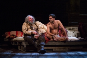 Antony Sher as Sir John Falstaff and Alex Hassell as Prince Hal. Pic: Kwame Lestrade.