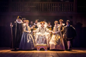 Suzanne Burden as Queen Elizabeth, with the company of Shakespeare in Love.
